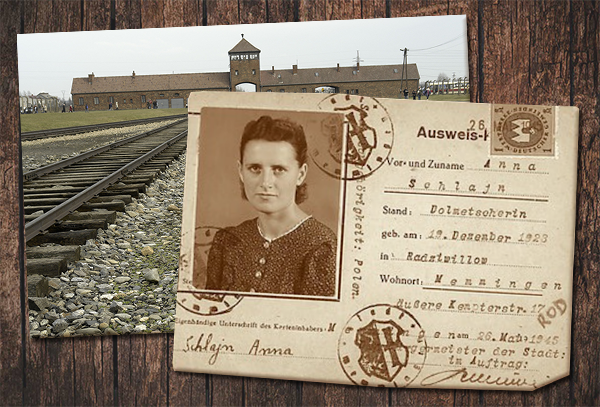 Passport on top of photo of Auschwitz-Birkenau